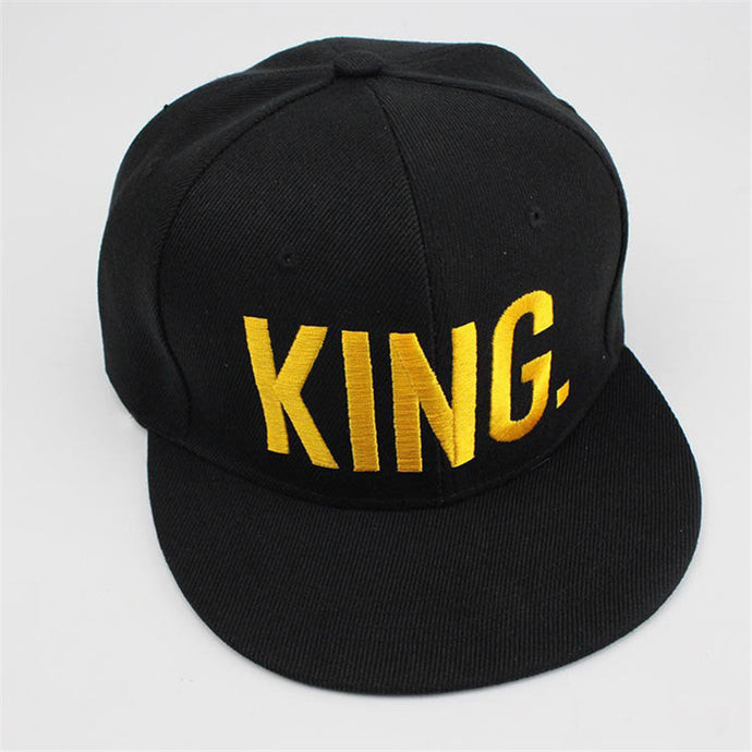 KING & QUEEN Gold Letters Snapback Baseball Caps