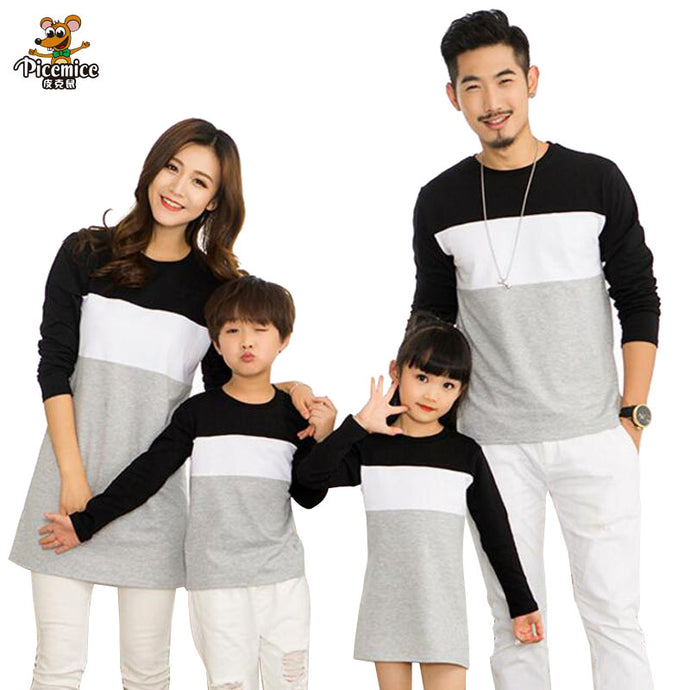 Patchwork Striped Family Matching Outfits