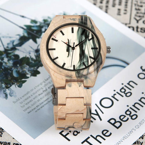Women's Ink Stained Natural Wood Eco Watch