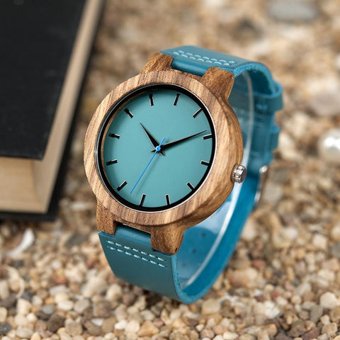 Blue Leather Bamboo Eco Watch