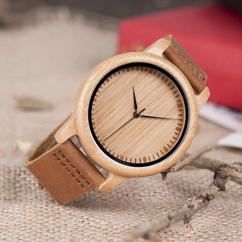 Casual Brown Leather Bamboo Eco Watch