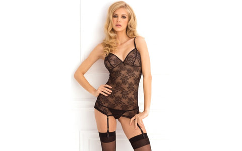 Rene Rofe - Floral Lace Garter Chemise and G-String Set