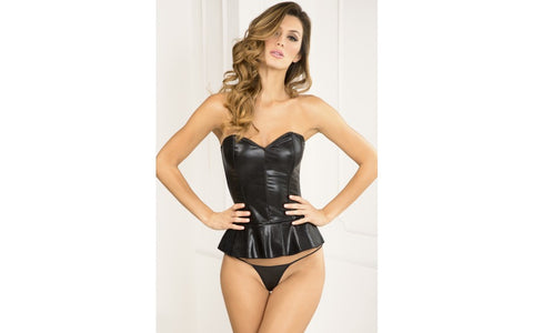 Rene Rofe - Flair For Fire Leatherette Bustier and G Set