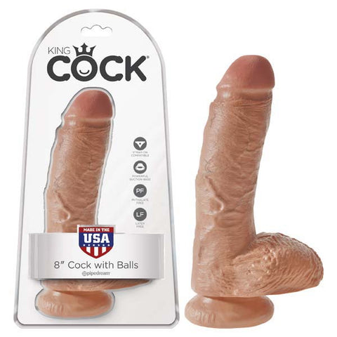 King Cock - 8'' Cock With Balls - Tan
