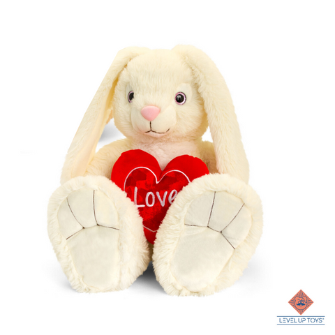 "Fluffy konijn ""love-heart"" wit 45cm"