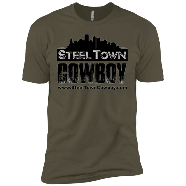 SteelTown Cowboy Black Logo - NL3600 Next Level Premium Short Sleeve T-Shirt
