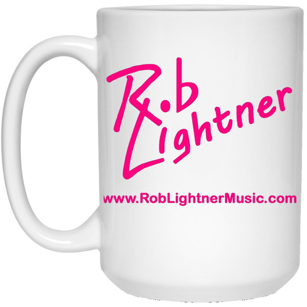 Rob Lightner Pink Logo 15 oz. White Ceramic Mug