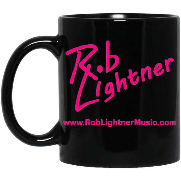 Rob Lightner Pink Logo 11 oz. Black Ceramic Mug