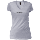 AssHatTShirts.com Ladies' Black Logo DT4501 District Junior's Vintage Wash V-Neck T-Shirt