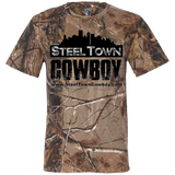 SteelTown Cowboy Black Logo with Website on Back- 3980 Code V Short Sleeve Camouflage T-Shirt