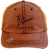 Rob Lightner Black Logo 6990 Distressed Unstructured Trucker Cap