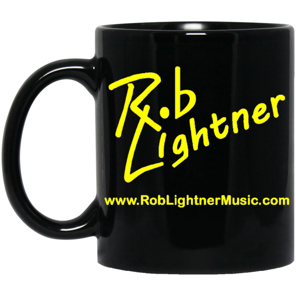 Rob Lightner Yellow Logo 11 oz. Black Ceramic Mug
