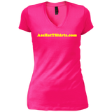 AssHatTShirs.com Ladies' Yellow Logo DT4501 District Junior's Vintage Wash V-Neck T-Shirt