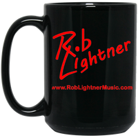 Rob Lightner Red Logo 15 oz. Black Ceramic Mug