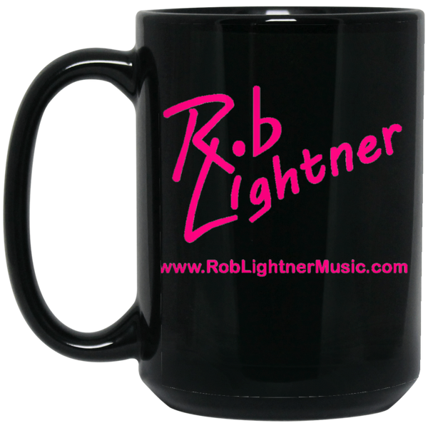Rob Lightner Pink Logo 15 oz. Black Ceramic Mug