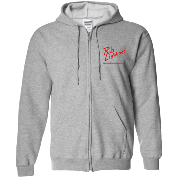 Rob Lightner Red Logo G186 Gildan Zip Up Hooded Sweatshirt
