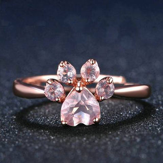 Cute Paw Rose Quartz Ring