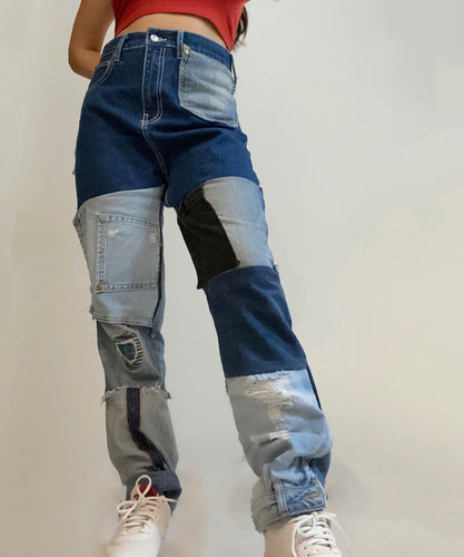 PATCHED DENIM JEANS