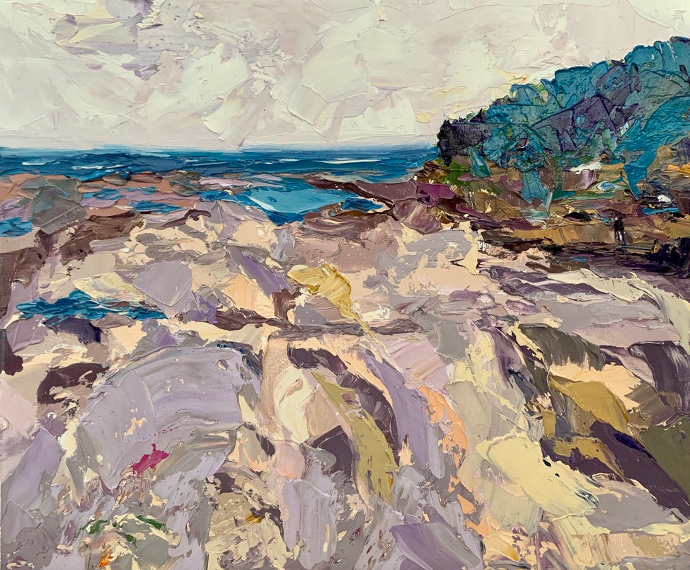Fine Art Print of Dee Why Rock Pool - Palette Knife Textured Painting