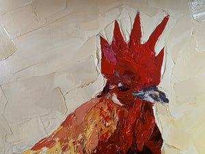 Reggie Rooster - Palette Knife textured oil Painting
