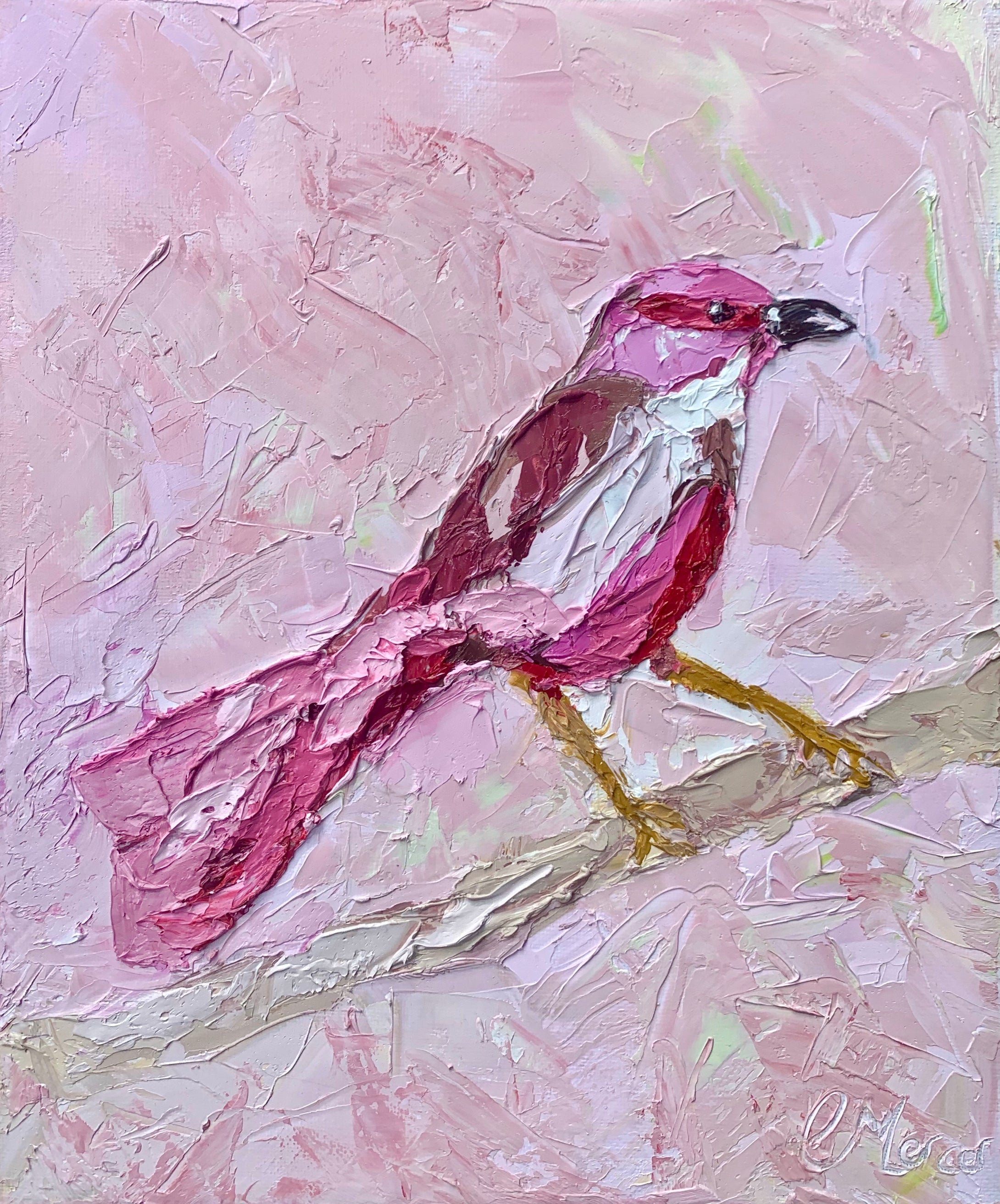 Fine Art Print Pink Bandit-  Palette Knife Textured Painting