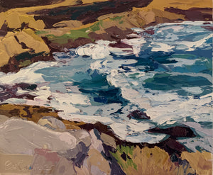 Fine Art Print of Looking Over Tamarama Rocks - Palette Knife Textured Painting