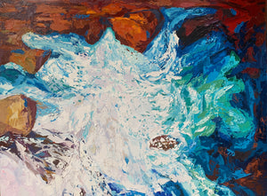 Raging Waters - Palette Knife Textured Painting