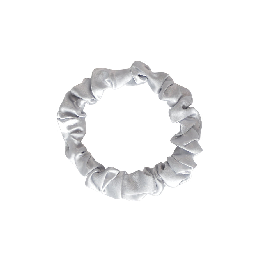 Small Silver Silk Hair Tie