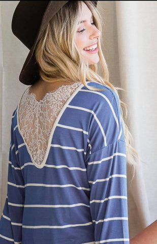 Stripe Lace Back Detail Top