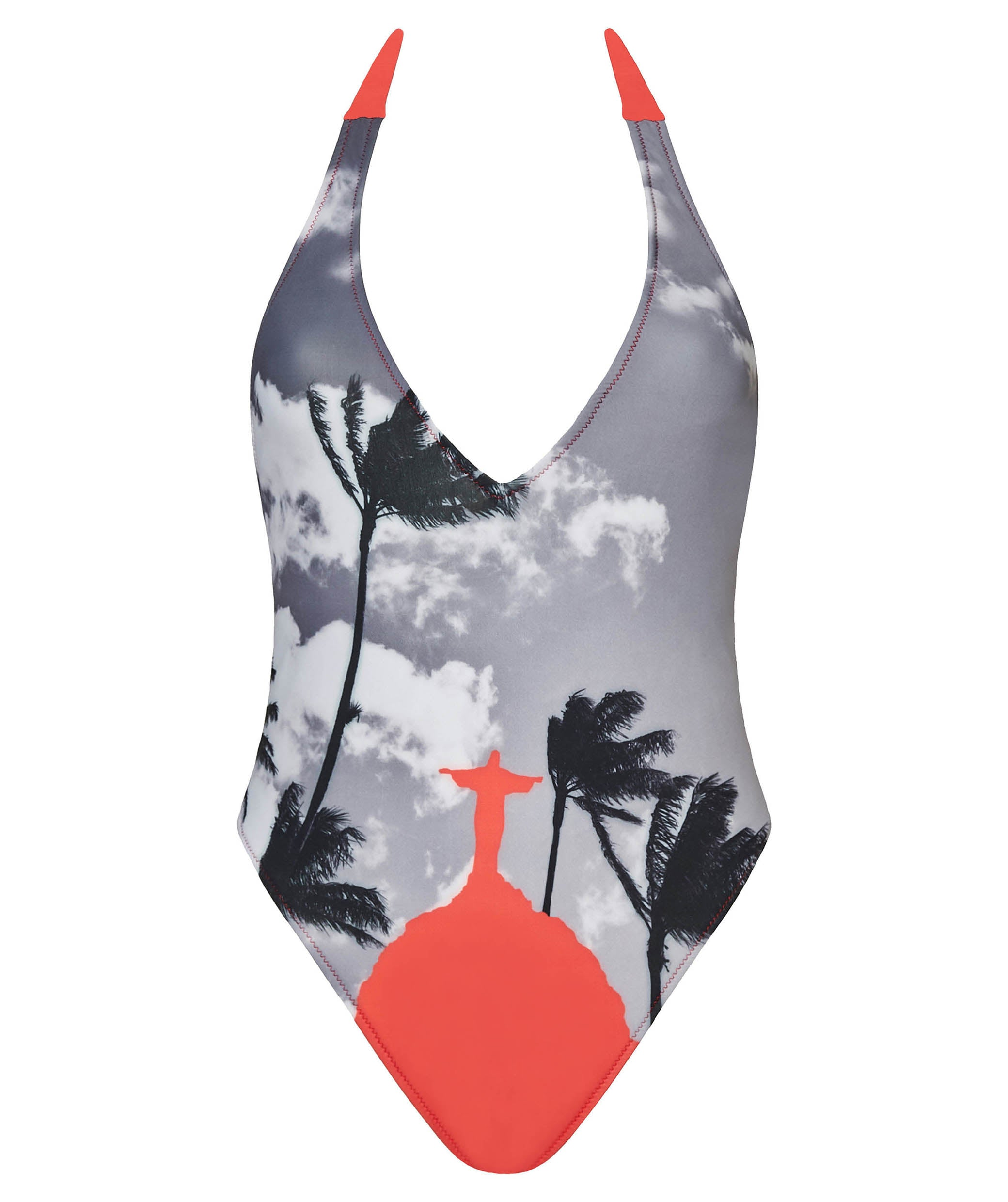 Boogaloo One-Piece Swimsuit Rio de Coral Plunge - Front