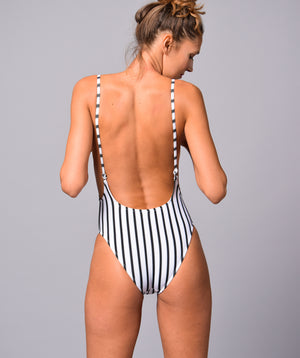 Boogaloo Girl wearing One-Piece Swimsuit TOCO Rib Plunge - Back
