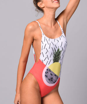 Boogaloo Girl wearing One-Piece Swimsuit Bici Cross Back - Front