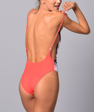 Boogaloo Girl wearing One-Piece Swimsuit Rio de Coral Rib Plunge - Back