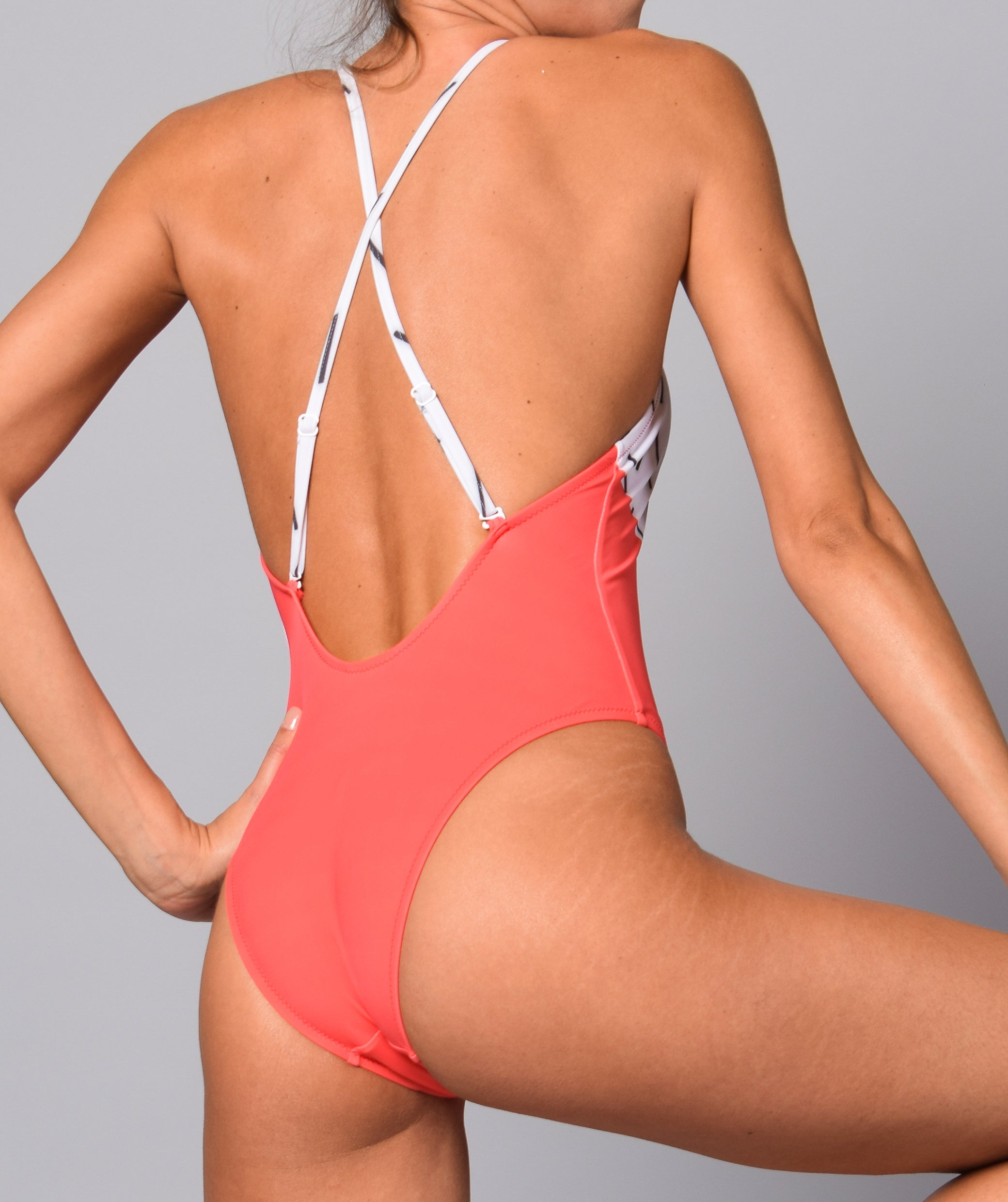 Boogaloo Girl wearing One-Piece Swimsuit Bici Cross Back - Back