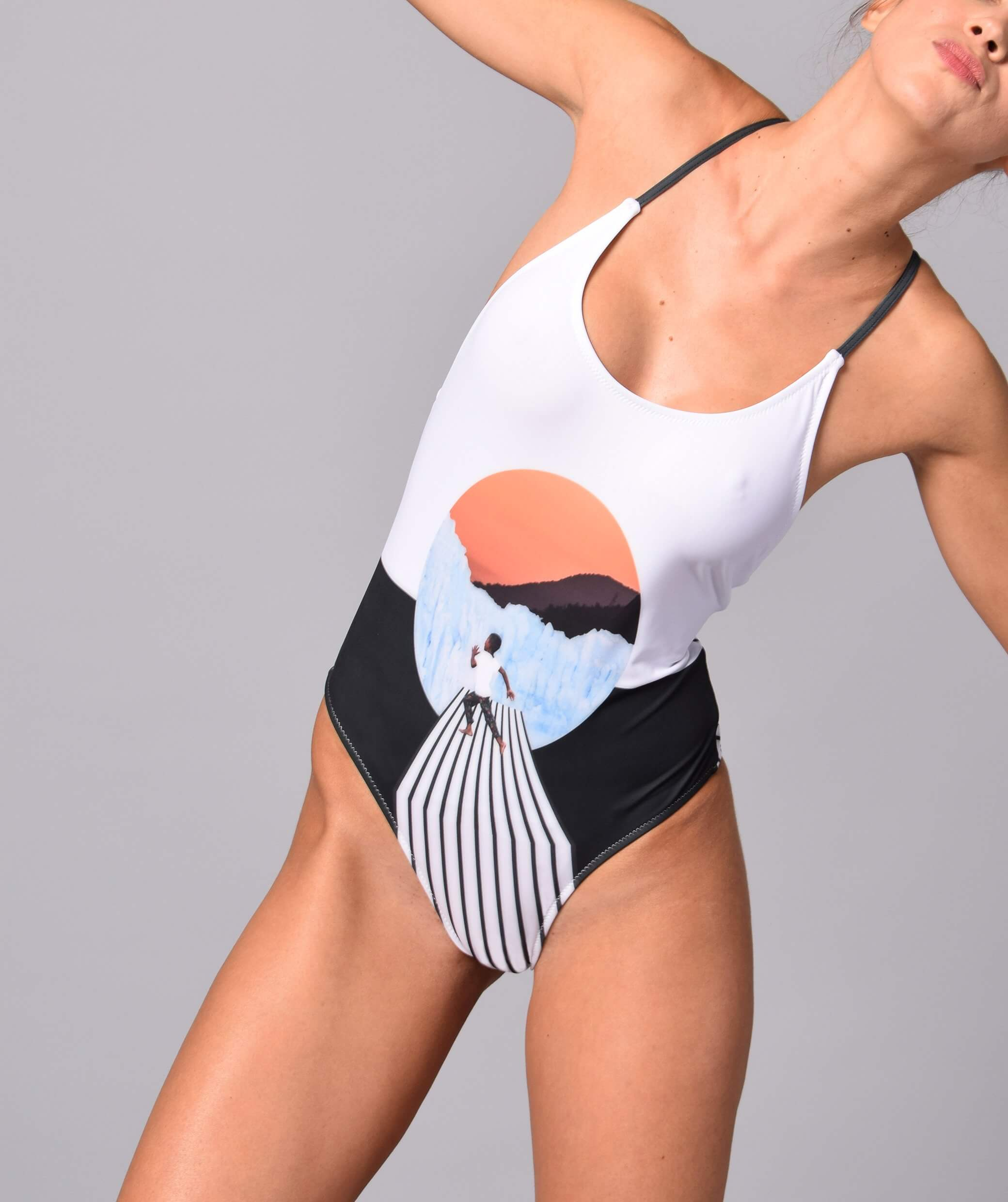 Boogaloo Girl wearing One-Piece Swimsuit NINITO Cross Back - Front