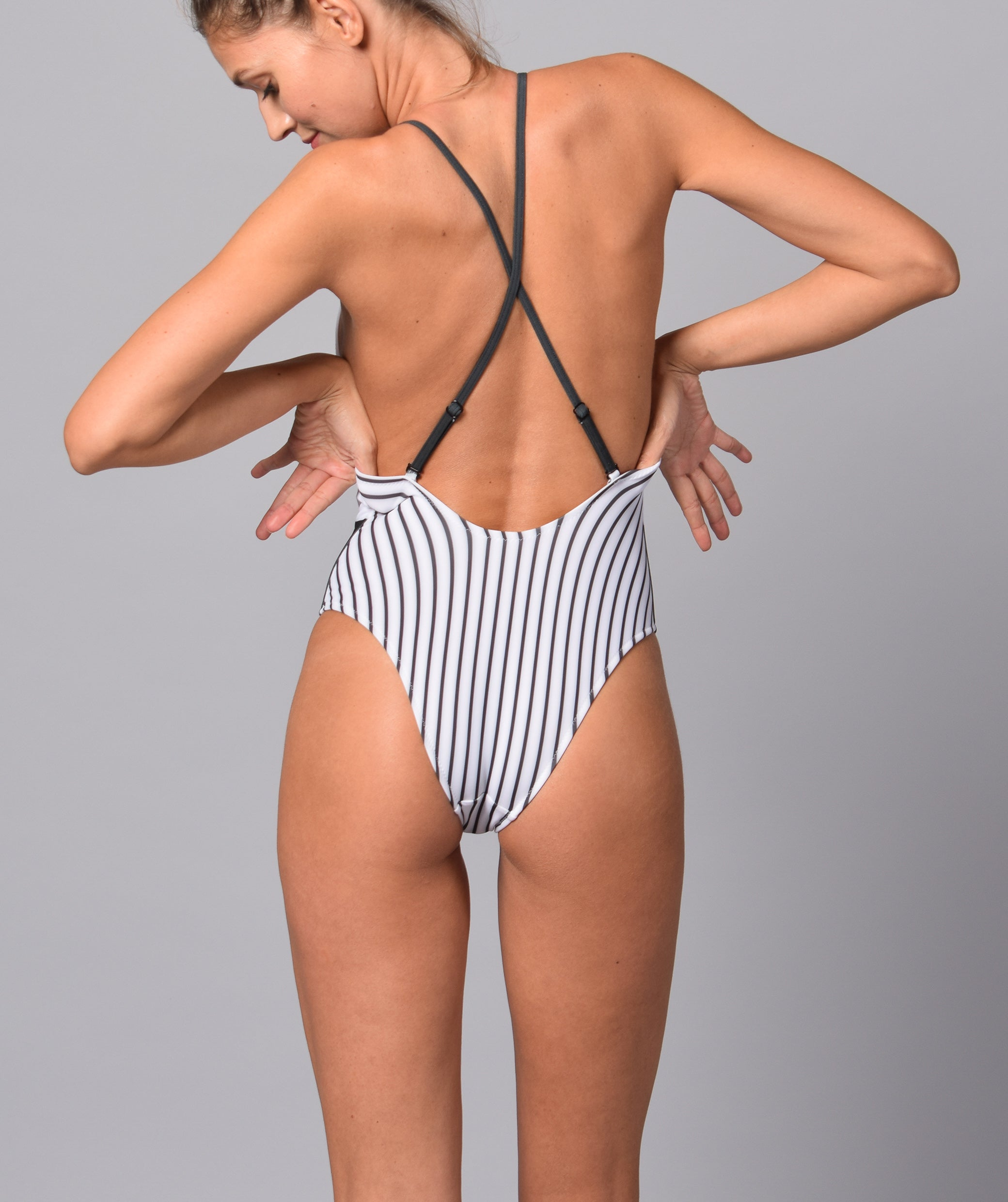 Boogaloo Girl wearing One-Piece Swimsuit NINITO Cross Back - Back