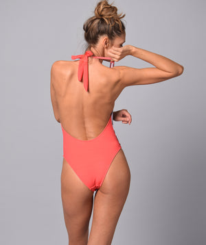 Boogaloo Girl wearing One-Piece Swimsuit Rio de Coral Plunge - Back