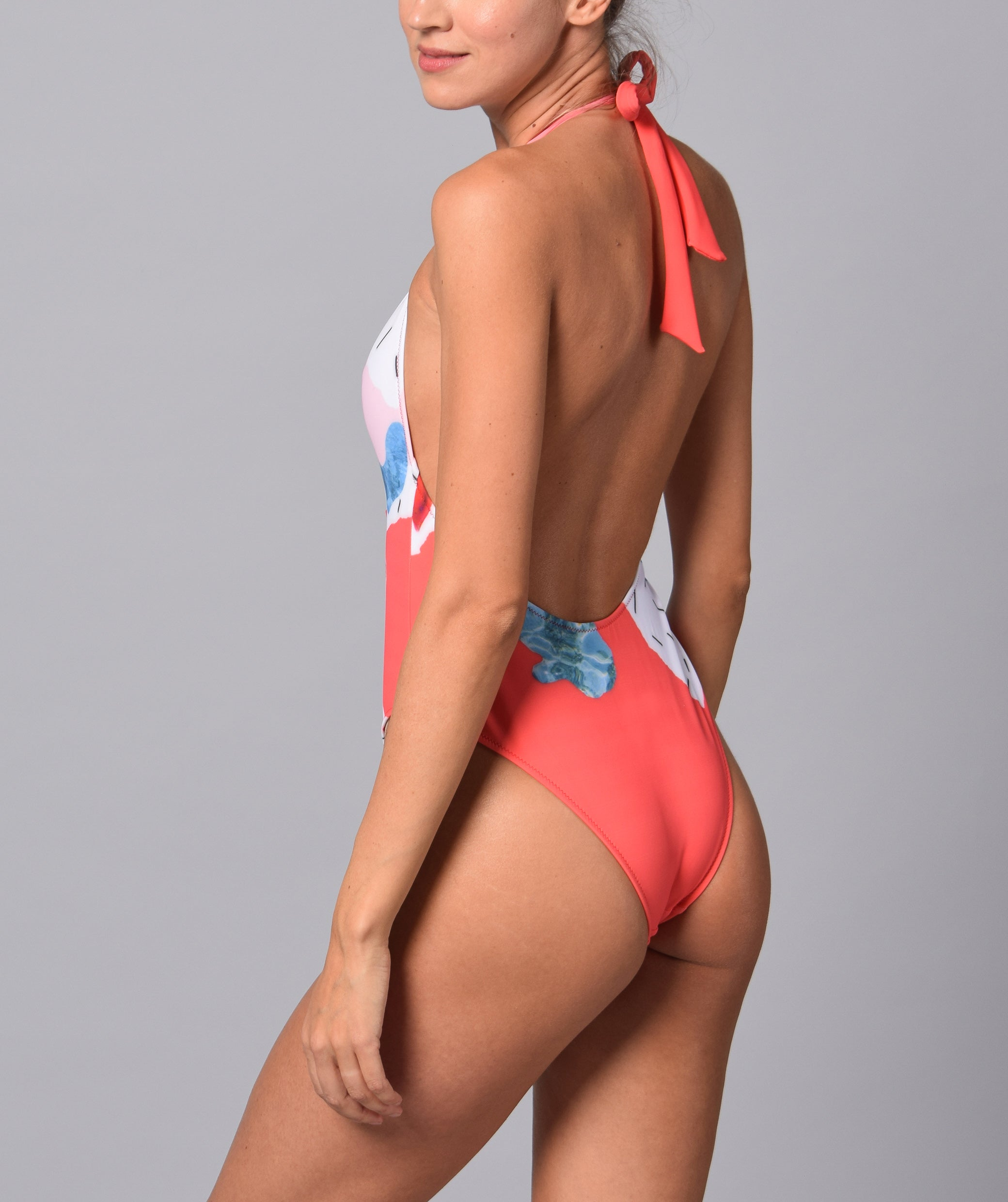 Boogaloo Girl wearing One-Piece Swimsuit Color Plunge - back