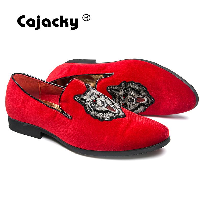 ... Cajacky Men Red Loafers Wolf Gentleman Loafers Luxury Brand Dress  Loafers Big Size Men Casual Shoes ... b608a0d69fa0
