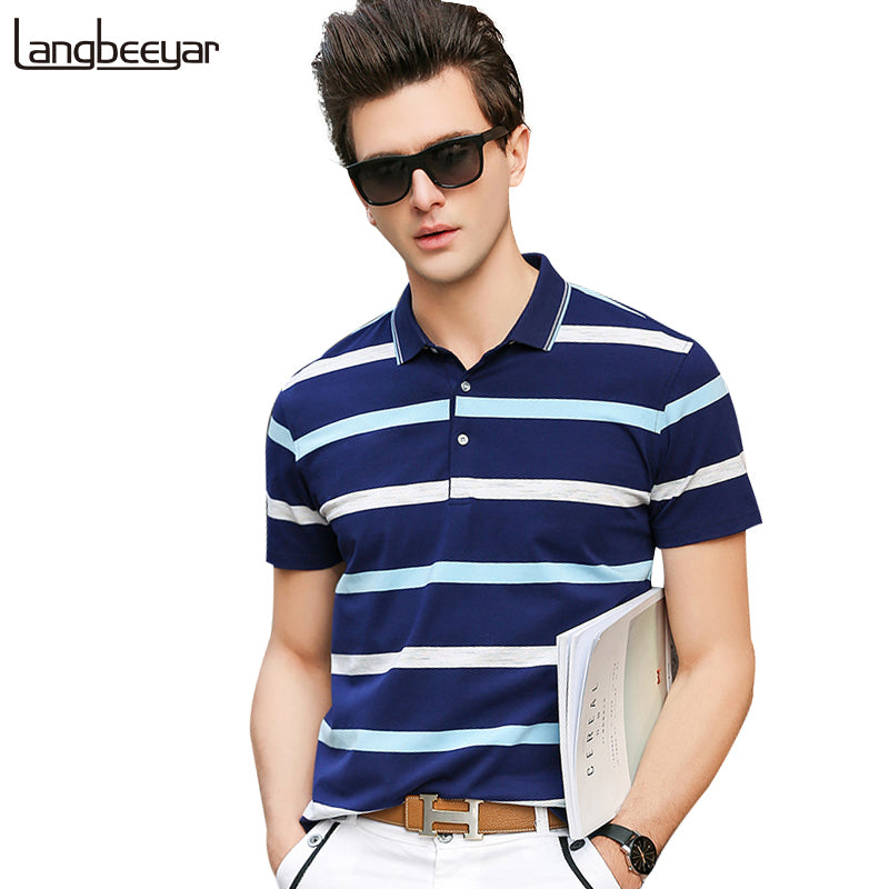0c4143cb83a4 2018 New Fashion Brands Mens Polo Shirts Street Wear Slim Fit Mens Striped Polo  Shirts With ...