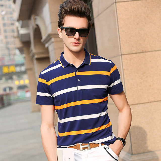 88d3d9c2302a ... 2018 New Fashion Brands Mens Polo Shirts Street Wear Slim Fit Mens  Striped Polo Shirts With ...