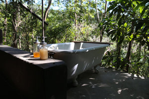 open air bath with natural bath products