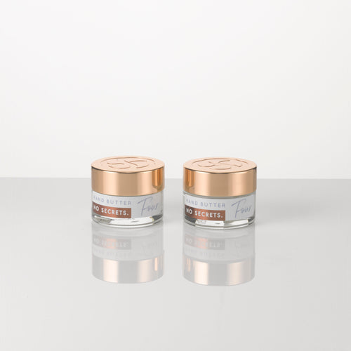 2 x 15g jars of all natural, plant based Hand and Body Butter, a light lotion which moisturises and soothes the skin, infused with an essential oil blend including geranium, neroli, ylang ylang, patchouli and lavender. Suitable for vegans.