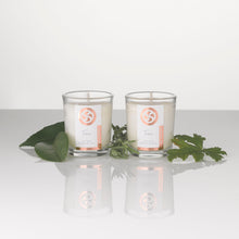 Load image into Gallery viewer, Votive candles, hand poured with soy wax and pure essential oil blends. Perfect for the most relaxing home spa.