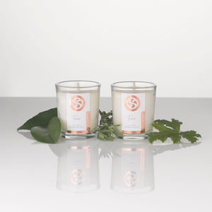 Votive candles, hand poured with soy wax and pure essential oil blends. Perfect for the most relaxing home spa.