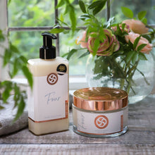 Load image into Gallery viewer, All natural, plant based gift set comprising hand cleanser and hand and body lotion. beautifully boxed. suitable for vegans.