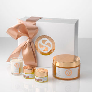 Home Spa gift set, all natural, plant based, beauty products from No Secrets including large jar of Body Jelly, two mini jars of Bath Jelly and One votive candle. All beautifully packaged in a presentation box.