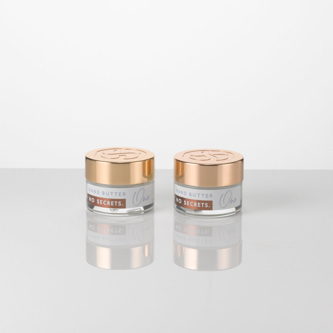 2 x 15g jars of all natural, plant based Hand and Body Butter, a light lotion which moisturises and soothes the skin, infused with an essential oil blend including bergamot, eucalyptus, petitgrain, juniper and lavender. Suitable for vegans.