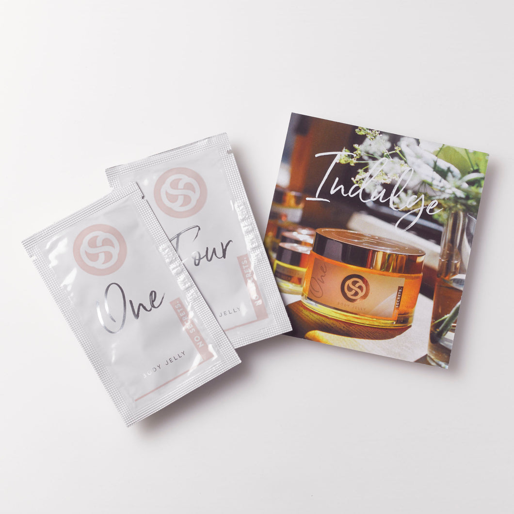 Sample sachets for all natural, plant based body jelly. suitable for vegans