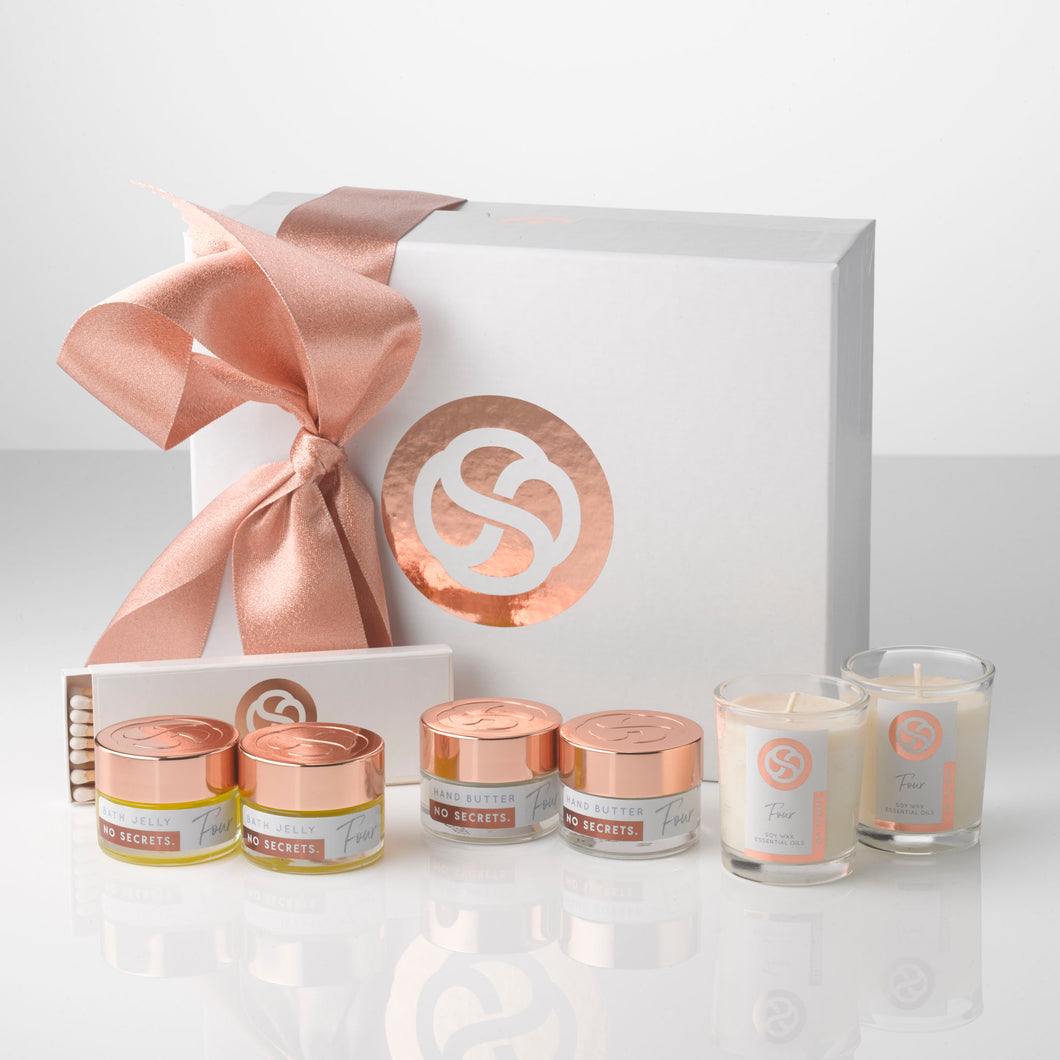 All natural plant based beauty gift set comprising Bath Jellies, Hand and Body Butter and Soy wax votives. Suitable for vegans